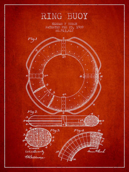 Lifeguard Digital Art - Ring Buoy Patent From 1909 - Red by Aged Pixel