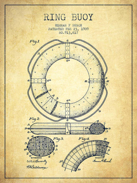Lifeguard Digital Art - Ring Buoy Patent From 1909 - Vintage by Aged Pixel
