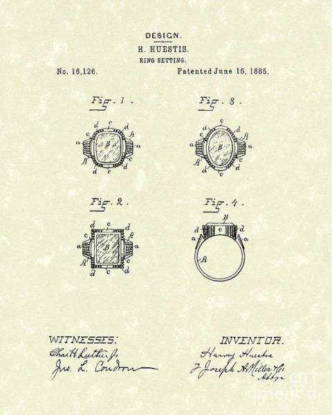 1885 Wall Art - Drawing - Ring Setting 1885 Patent Art by Prior Art Design