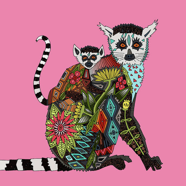 Wall Art - Painting - Ring Tailed Lemur Love Pink by MGL Meiklejohn Graphics Licensing