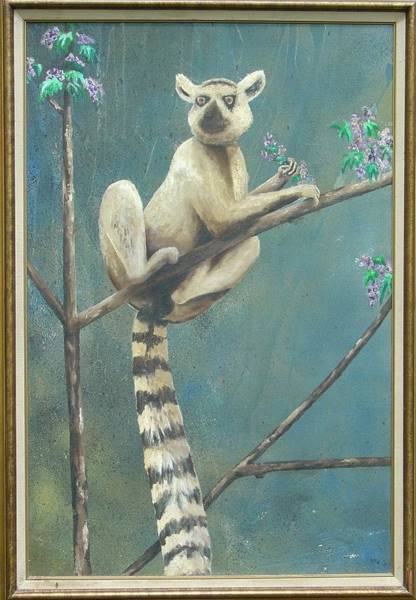 Ring-tailed Lemur Painting - Ring Tailed Lemur by Marty Guy