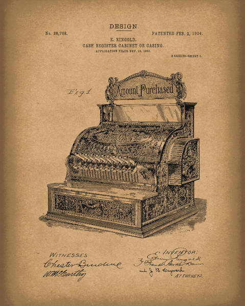 Drawing - Ringold Cash Register 1904 Patent Art Brown by Prior Art Design