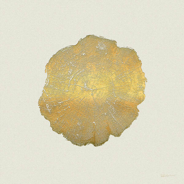 Digital Art - Rings Of A Tree Trunk Cross-section In Gold On Linen Beige by Serge Averbukh