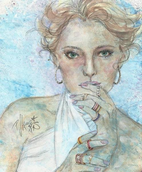 Mixed-media Drawing - Rings by PJ Lewis