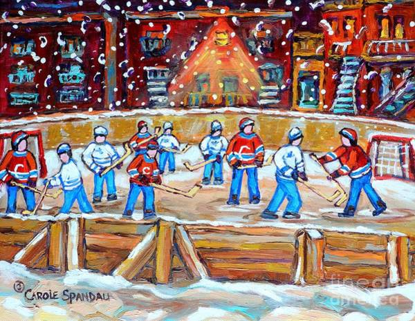 Pointe St Charles Painting - Rink Hockey In The City Montreal Memories Outdoor Hockey Fun Street Scene Painting Carole Spandau by Carole Spandau