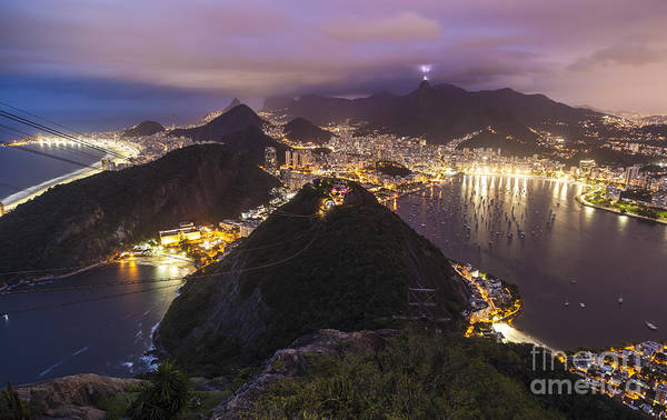 Rio Photograph - Rio Evening Cityscape Panorama by Mike Reid