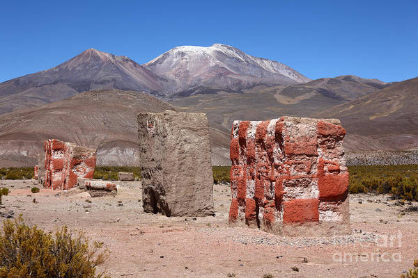 Photograph - Rio Lauca Chulpas Or Burial Towers by James Brunker