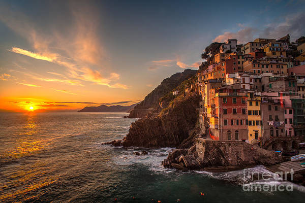Vernazza Photograph - Riomaggiore Rolling Waves by Mike Reid