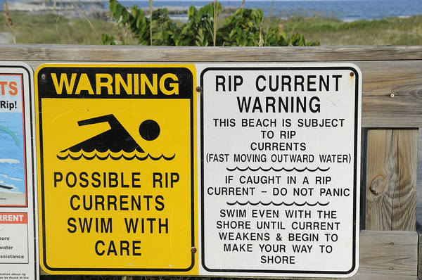 Photograph - Rip Current Warnings by Bradford Martin
