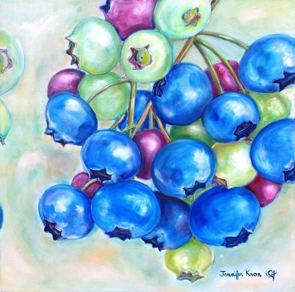 Wall Art - Painting - Ripening Blueberry Bunch by Jennifer Kwon