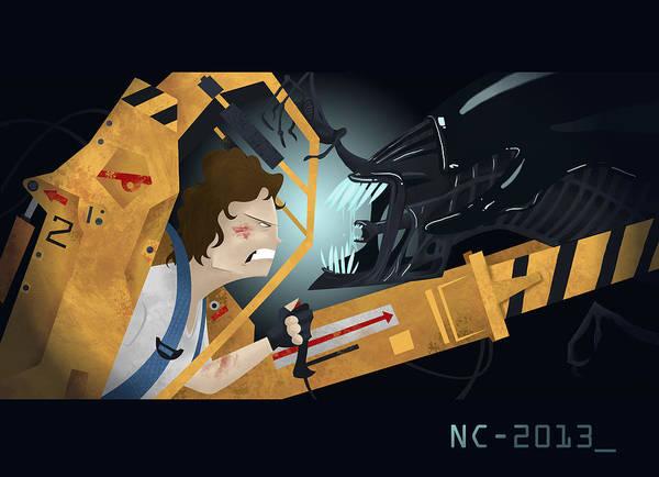 Suspense Digital Art - Ripley Vs Alien Queen by Nate Call