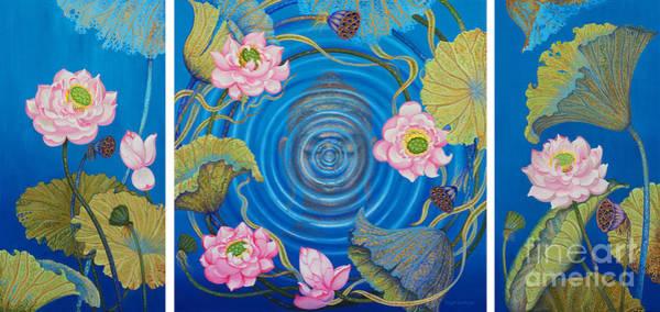 Wall Art - Painting - Ripple Effect. Triptych by Yuliya Glavnaya