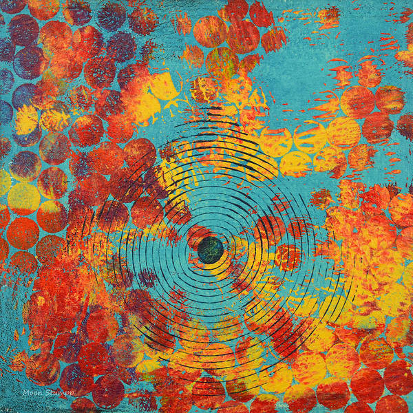 Red Moon Painting - Ripples by Moon Stumpp