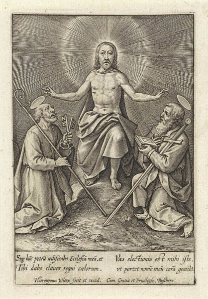 Bishop Hill Drawing - Risen Christ With Peter And Paul, Hieronymus Wierix by Hieronymus Wierix