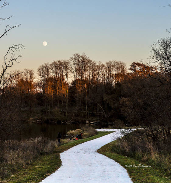 Photograph - Rising Moon Fishing by Edward Peterson