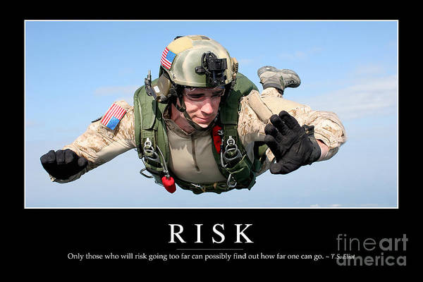 Skydiver Photograph - Risk Inspirational Quote by Stocktrek Images