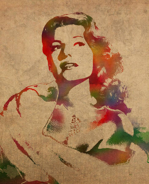 Golden Mixed Media - Rita Hayworth Hollywood Golden Era Actress Watercolor Portrait On Won Canvas by Design Turnpike