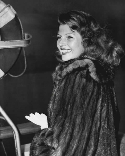 Gene Photograph - Rita Hayworth In Fur Coat by Retro Images Archive