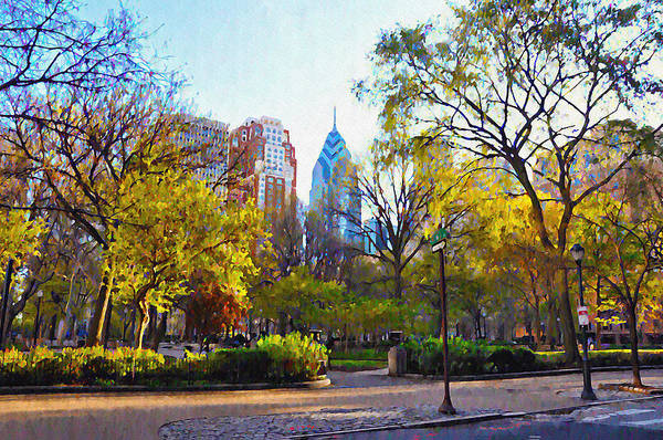 Phila Digital Art - Rittenhouse Square In The Spring by Bill Cannon