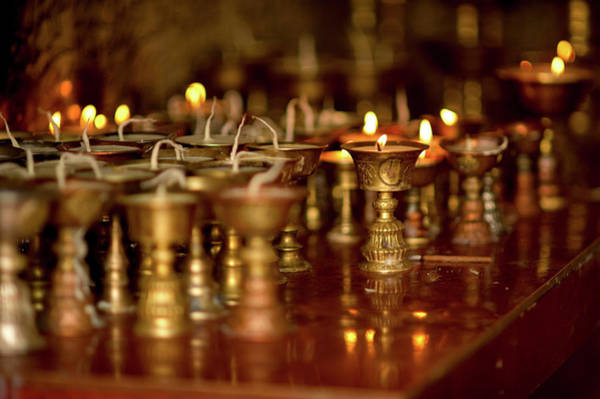 Ethnic Minority Photograph - Ritual Lamps In A Buddhist Monastery by Jaina Mishra