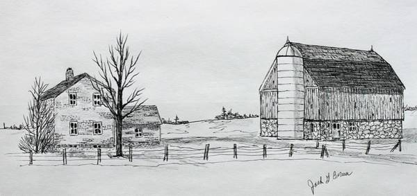 Homestead Drawing - Ritzke Homestead by Jack G  Brauer