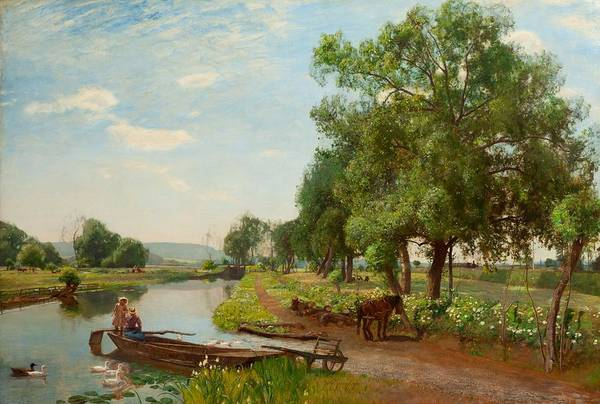Punt Painting - River And Rail, 1896 by Sir David Murray