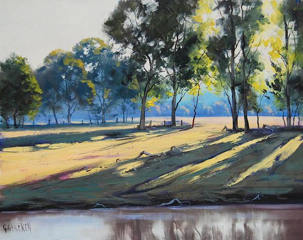 River Painting - River Bank Shadows Tumut by Graham Gercken