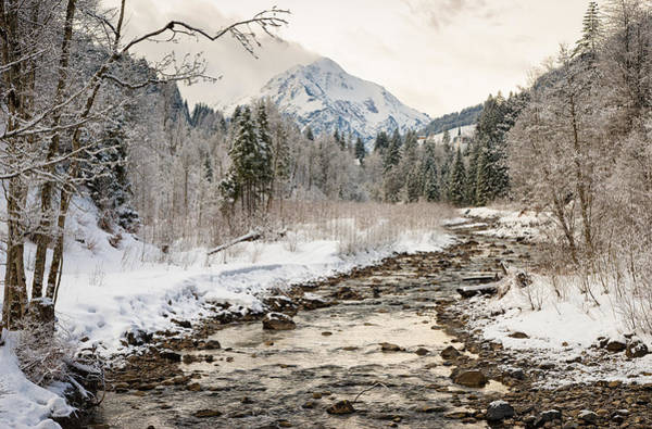 Photograph - River Breitach In Kleinwalsertal Austria In Winter With Snow by Matthias Hauser