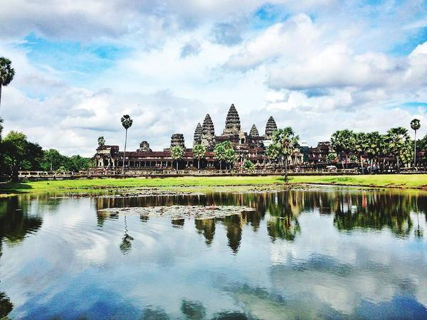 Cambodian Photograph - River By Angkor Wat Against Sky by Silvana Serra / Eyeem