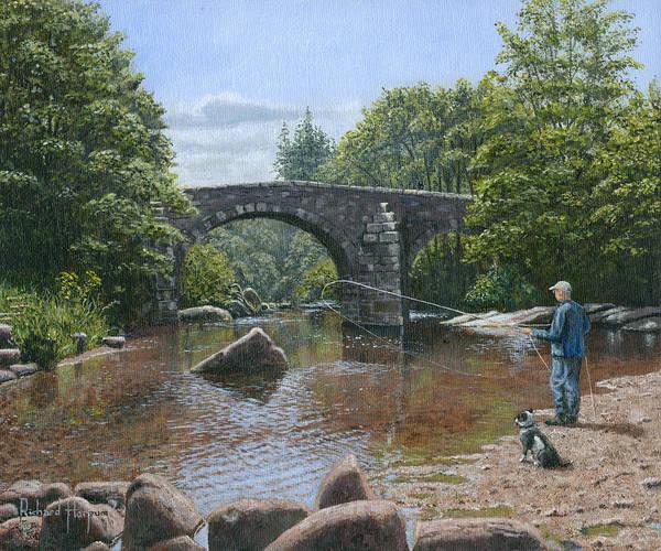 Devon Painting - River Dart Fly Fisherman by Richard Harpum