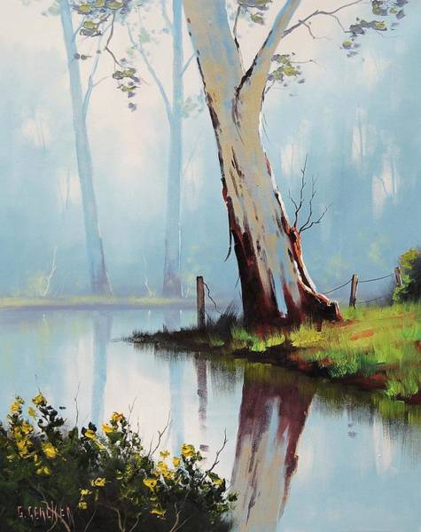Brook Painting - River Eucalyptus Trees by Graham Gercken