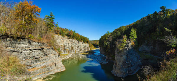 Genesee Photograph - River Flowing Through A Gorge by Panoramic Images
