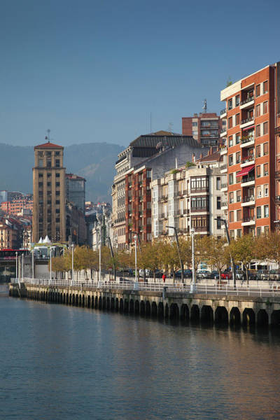 Bilbao Photograph - River Front Buildings by Walter Bibikow