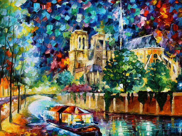 Wall Art - Painting - River In Paris by Leonid Afremov