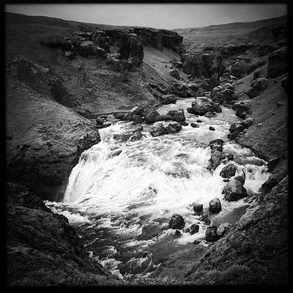 Wall Art - Photograph - River Landscape Iceland Black And White by Matthias Hauser