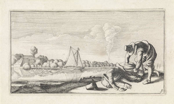 River Bank Drawing - River Landscape With A Dead Man Who Robbed by Jan Van De Velde (ii) And Anonymous And Claes Jansz. Visscher (ii)