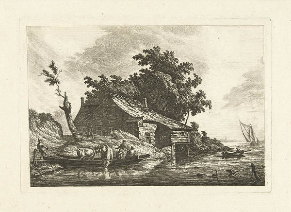 River Bank Drawing - River Landscape With A Ferry, Johannes Van Cuylenburgh by Johannes Van Cuylenburgh