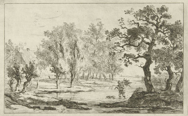 Lumberjacks Drawing - River Landscape With A Lhomme Qui Achète Le Bois by Artokoloro