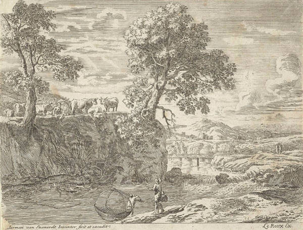 River Bank Drawing - River Landscape With Cows, Anonymous, Herman Van Swanevelt by Anonymous And Herman Van Swanevelt