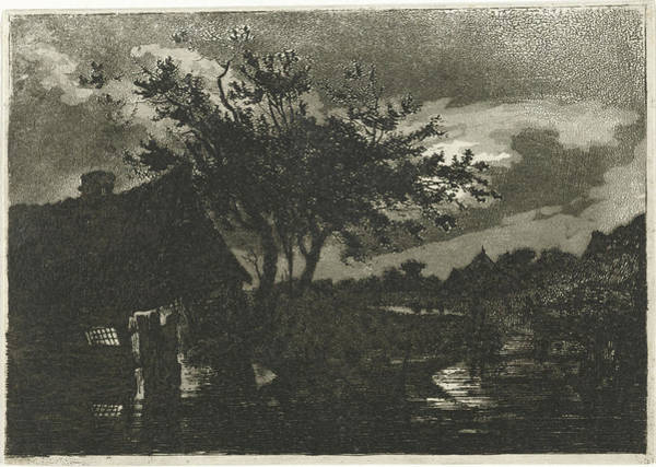 Wall Art - Drawing - River Landscape With Farm, François Joseph Pfeiffer II by Quint Lox