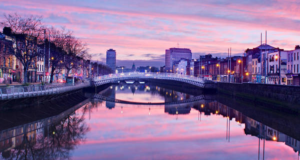 Photograph - River Liffey Reflections At Dawn - Dublin by Barry O Carroll