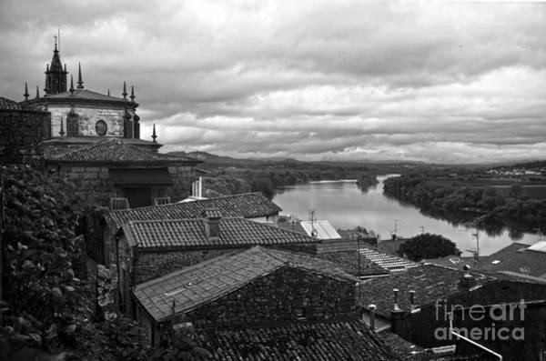 Galicia Photograph - River Mino And Portugal From Tui Bw by RicardMN Photography