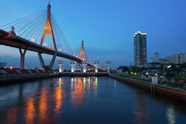 Thailand Photograph - River Night In Bangkok, Thailand by Tanatat Pongphibool ,thailand