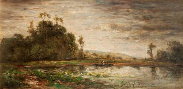 Riverbank Painting - River Scene At Sunset, 1875 by Charles Francois Daubigny