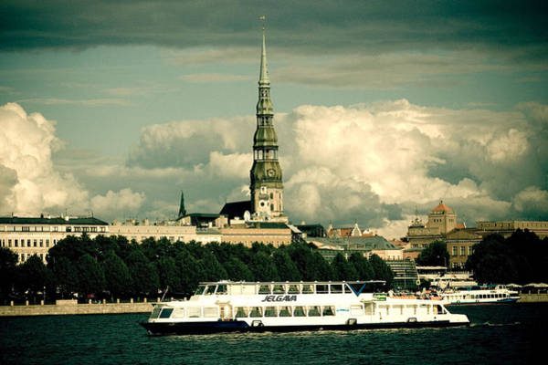 Photograph - River Ship Jelgava Old Town Riga City by Raimond Klavins