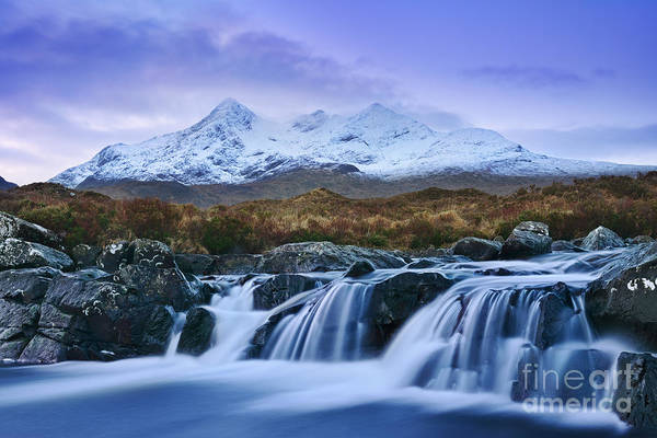 Isle Of Skye Photograph - Waterfall And The Cuillins by Rod McLean