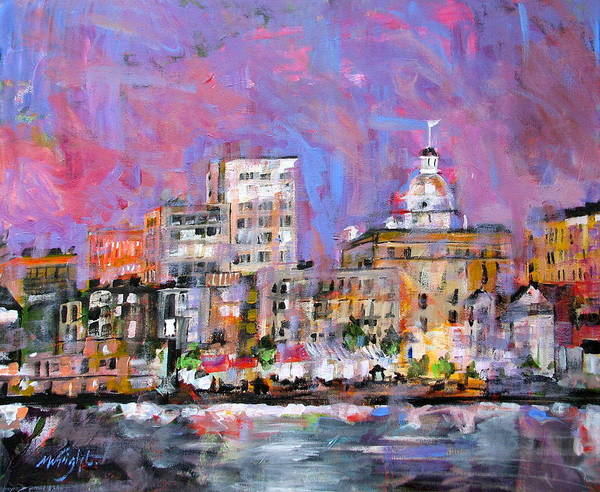 Savannah Painting - River Street by Molly Wright