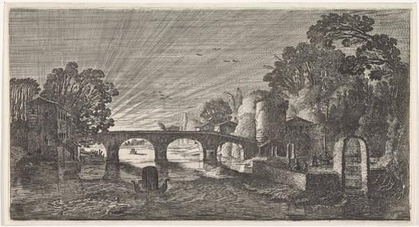 Twilight Drawing - River View At Sunset, Jan Van De Velde II by Jan Van De Velde (ii)