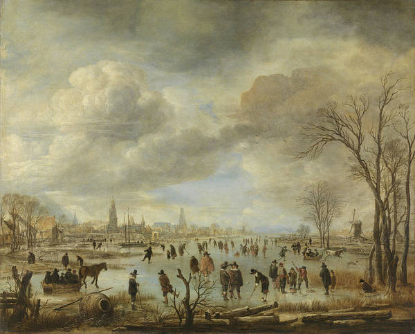 Wall Art - Drawing - River View In Winter, Aert Van Der Neer by Litz Collection