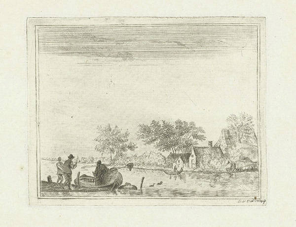 Wall Art - Drawing - River View With Rowing Boat At Rijnsaterwoude by Dani?l Nicolaas Chimaer Van Oudendorp